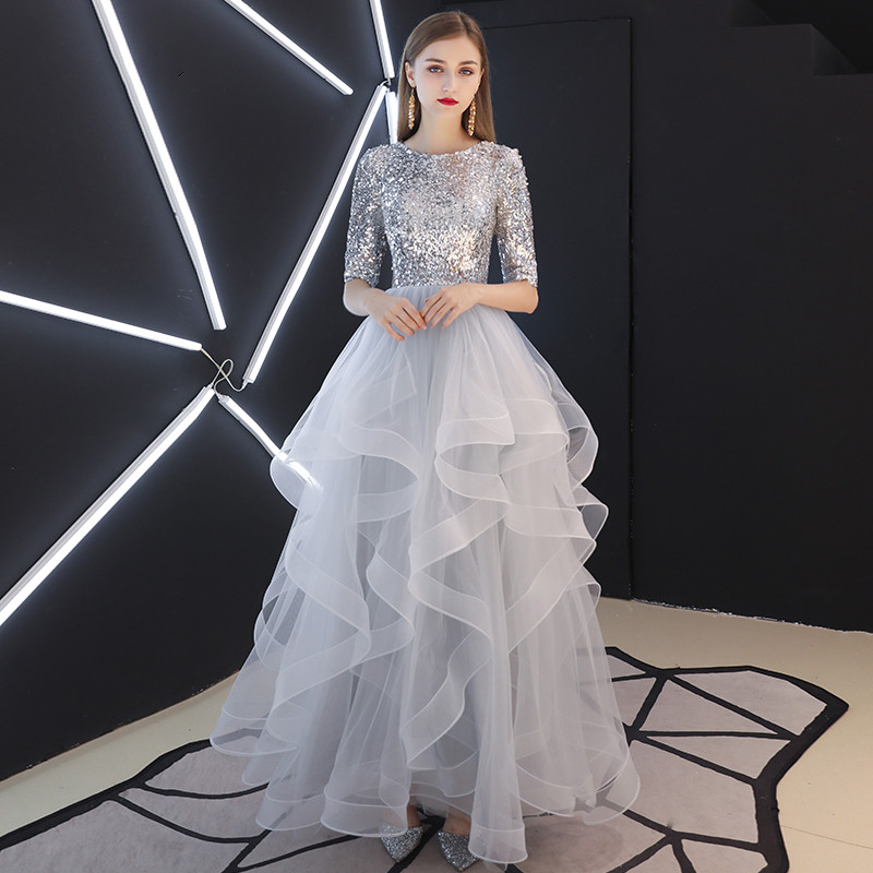 Robe De Soiree 2019 New Sequined Lace Up Long   Evening     Dresses   Bride Banquet Elegant Floor-length Party Prom   Dress   LYFY36