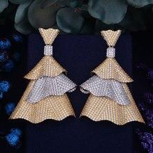 GODK 66mm New Arrival Luxury Trendy Little Party Dresses Full Mirco Cubic Zirconium Naija Wedding Women Earring Fashion Jewelry