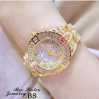 Hot Sale Women Brand Luxury Full Diamond Gold Bracelet Steel Watch Women Luxury Crystal Stylish Bracelet Rhinestone Charm Bangle