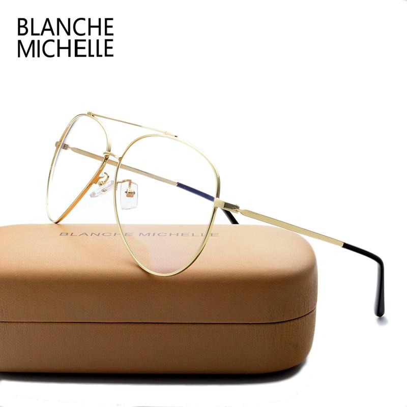 Rustfritt stål Unisex Glasses Frame UV400 Eyeglasses Rammer Clear Glasses For Women Lunette De Vue Men Optisk Eyeglass Box