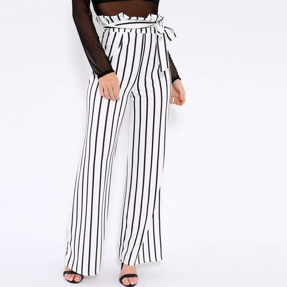 Pants-Women-Stripe-Drawstring-OL-Loose-Stretch-High-Waist-Wide-Leg-Long-Trousers-Female-High-Waist