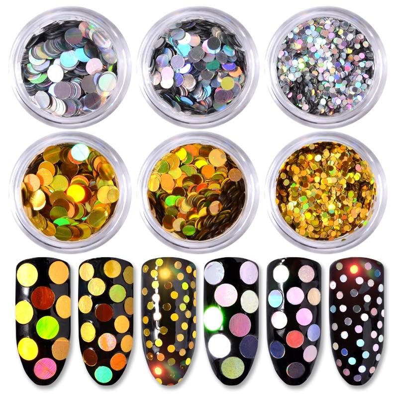 6pcs/set Nail Glitter Sequins Silver Gold Round Holographic Flakes Mixed Sizes Paillette 3d Charm