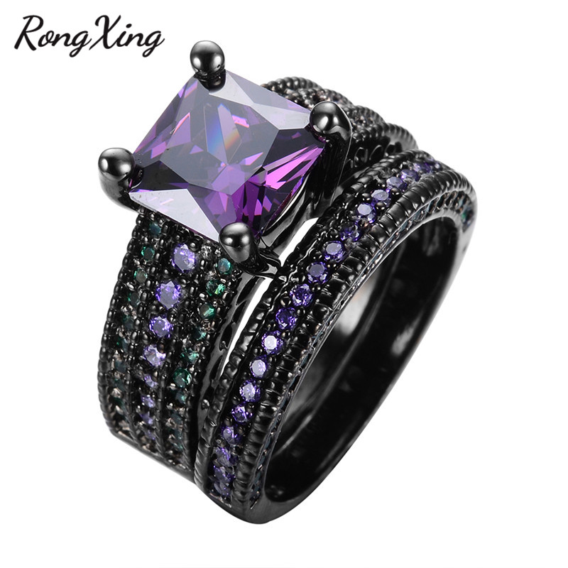 RongXing Square Purple Zircon Ring Set For Women Wedding