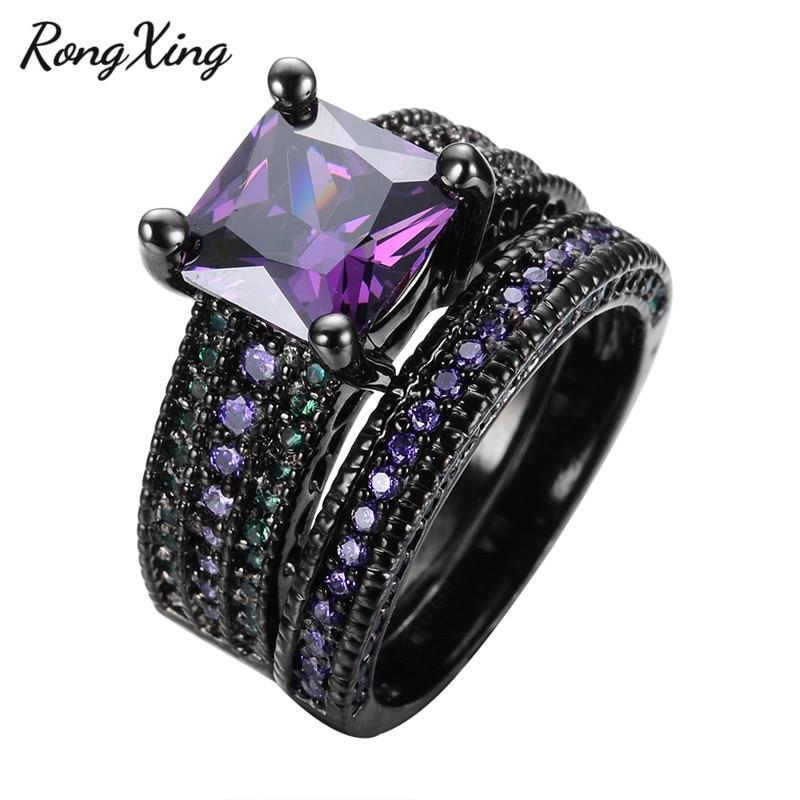 RongXing Square Purple Zircon Ring Set For Women Wedding ...