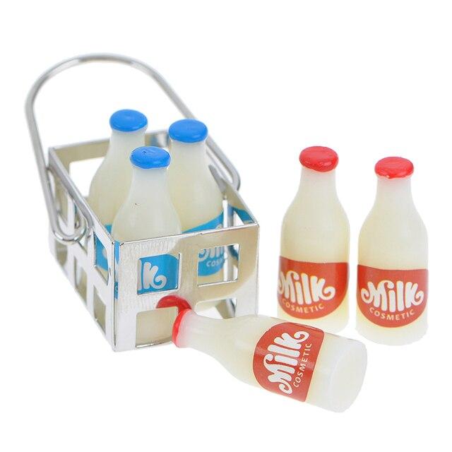 1/12 maison de poupée meubles Miniature métal lait panier avec 7 pièces bouteilles ensemble poupées maison cuisine porche accessoires décor