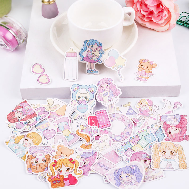 44pcs/lot Cute Girl Diary Planner Decorative Stickers Adhesive Stickers Kawaii Animals Scrapbooking Craft Stationery Stickers