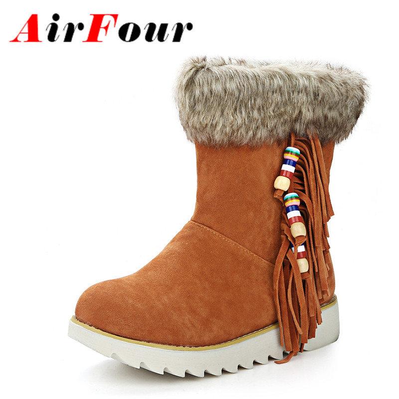Airfour Winter Warm Fur Snow Boots Women Flats Casual Ankle Boots Fashion Tassel Slip-on Platform Boots Shoes Woman Big Size 44 beginner tattoo kit 1 machine gun 4 inks needles tattoo power supply d1025gd 2
