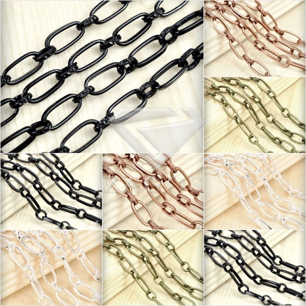 2m Iron Textured Cable Unfinished Chains Craft Jewelry Making Fit Bracelet Necklace Wholesale CH0132 4  Color Choose