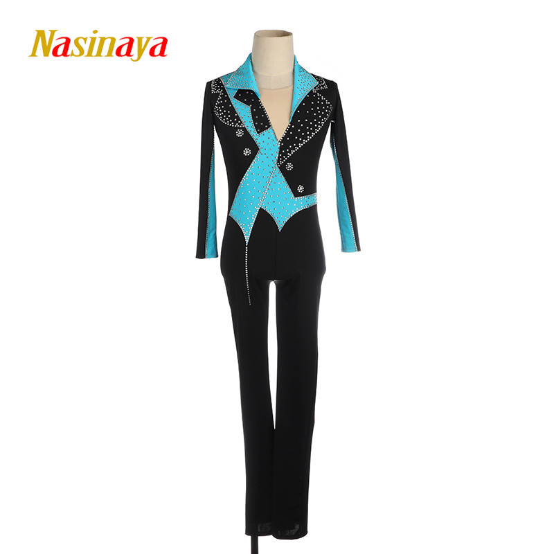 Nasinaya Boys Man Figure Skating Performance Clothing Jumpsuit Customized Competition Ice Skating Leotard Gymnastics Elastic