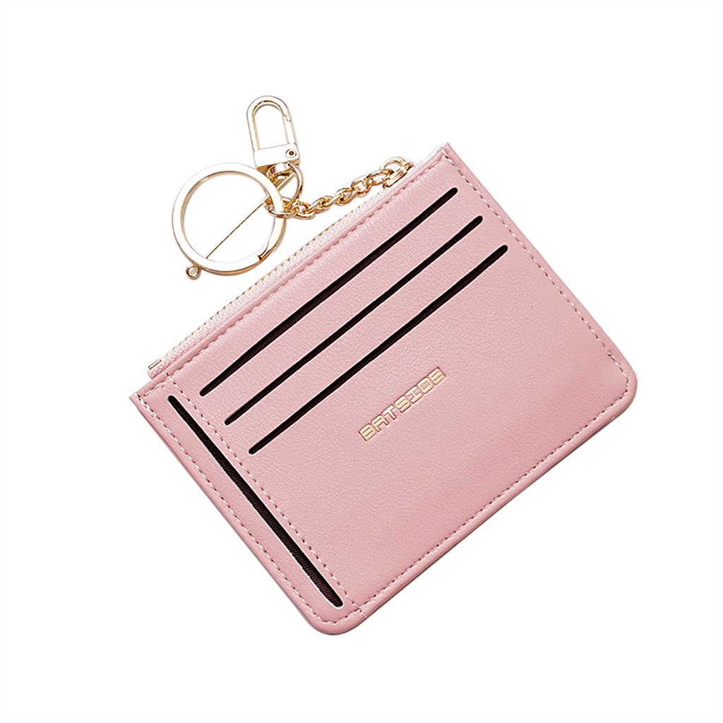 Women Short Wallet Fresh Student Bag Simple Multi-card Seat Buckle Coin Purse Chain Leather Wallets  High Quality Carteira*//