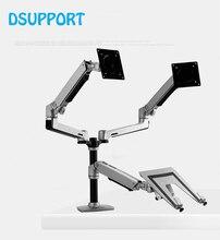 שולחן עבודה מלא תנועה 17 32 אינץ צג כפול מחזיק הר זרוע + 10 15.6 אינץ מחשב נייד תמיכה מכאני אביב זרוע