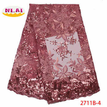 2019 Latest French Sequins Nigerian Lace Fabric High Quality Embroidered African Lace Fabric Wedding French Tulle Lace XY2711B-4