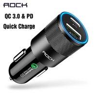 ROCK H5 Dual PD QC 3,0 2,0 USB cargador de coche Digital aleación de aluminio rápido carga rápida voltaje para iPhone samsung