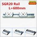 1 шт. Серебряный алюминиевый двойной осевой валик линейная направляющая SGR20 L = 600 мм + 1 шт. SGB20 блок линейная направляющая движения для CNC части