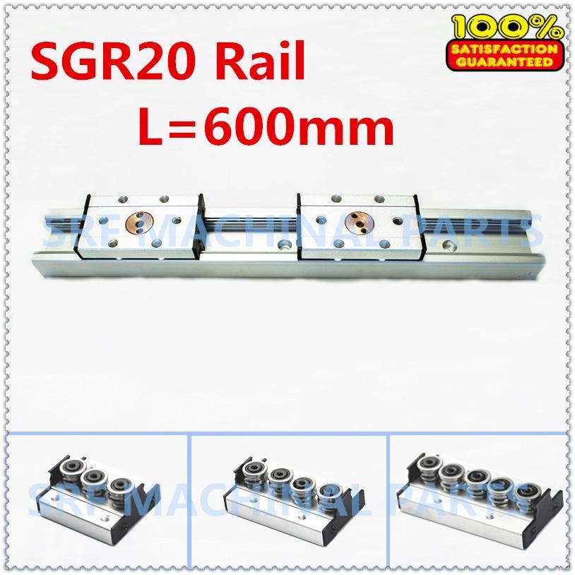 1 pçs de alumínio prata eixo duplo rolo linear guia sgr20 l = 600mm + 1 pçs sgb20 bloco trilho deslizante movimento linear para cnc parte