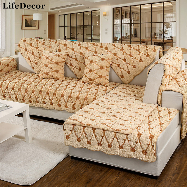 Plush Anti Skid Sofa Covers For Living Room Leather Couch European Fashion  Thick Auturn And