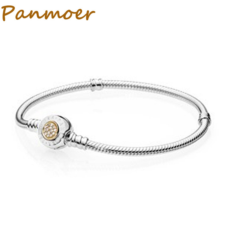 925 sterling silver classic circular letter snake bone chain shell button bracelet for women men fit pandor DIY Fine Jewelry