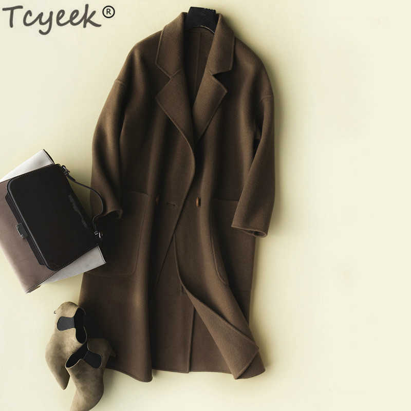 Tcyeek Natural 100% Wool Coat Female Long Cashmere Jacket Women Korean Sided Woolen Clothes 2019 Spring Autumn Overcoat LWL1413