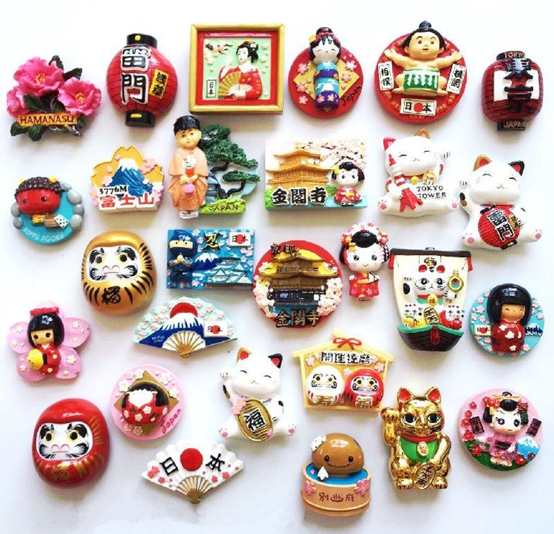 Kimono Doll Mount Fuji Landscape High-grade Resin 3D Fridge Magnets Japan Travel Souvenirs Refrigerator Magnetic Sticker