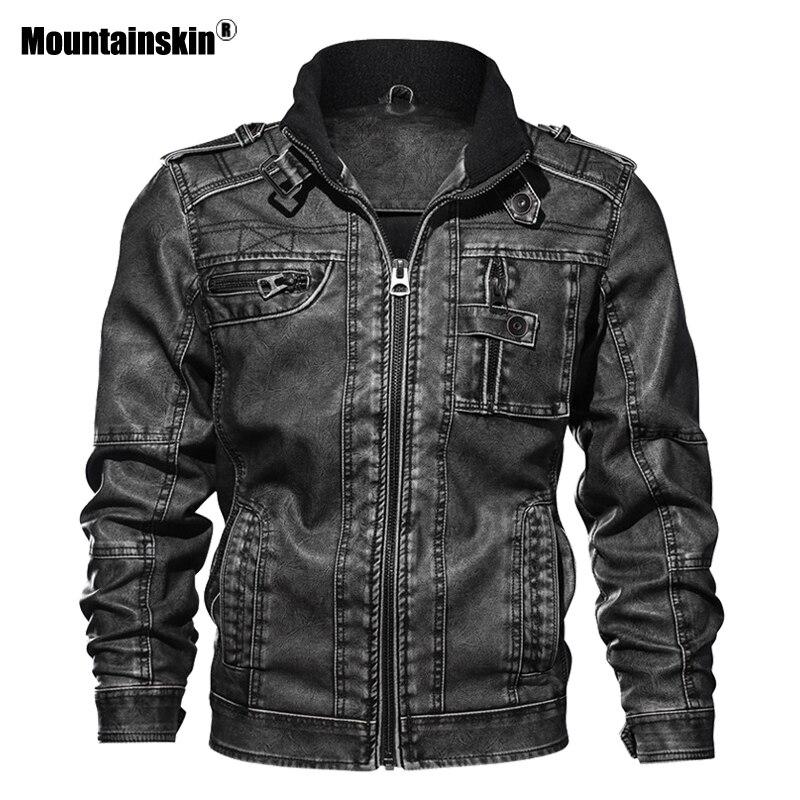 Mountainskin 7XL Hommes de PU Veste En Cuir Manteau Automne Slim Fit Faux Cuir Moto Vestes Homme Manteaux Marque Vêtements SA591