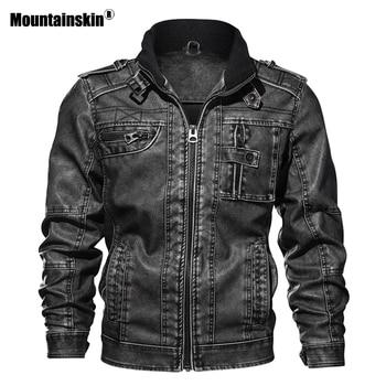 Mountainskin 7XL الرجال سترة بولي يوريثان معطف جلد الخريف سليم صالح فو الجلود دراجة نارية جاكيتات معاطف الذكور ماركة الملابس SA591