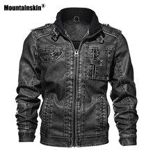 Mountainskin 7XL Для мужчин PU куртка кожаные пальто осень Slim Fit Искусственная кожа Мото-куртки мужской пальто брендовая одежда SA591