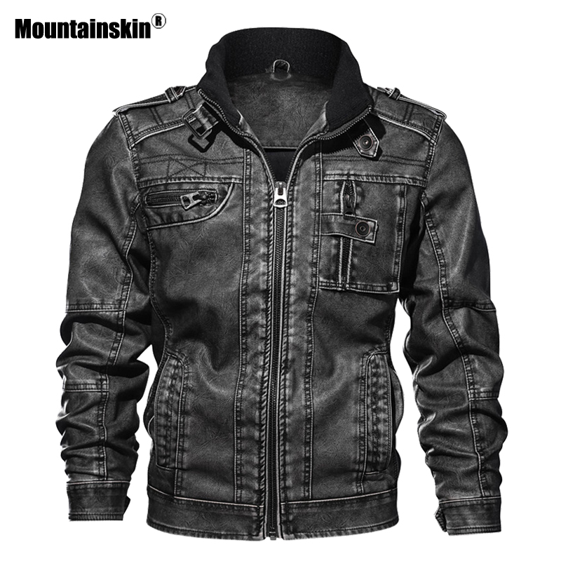 Mountainskin 7XL männer PU Jacke Leder Mantel Herbst Slim Fit Faux Leder Motorrad Jacken Männlichen Mäntel Marke Kleidung SA591