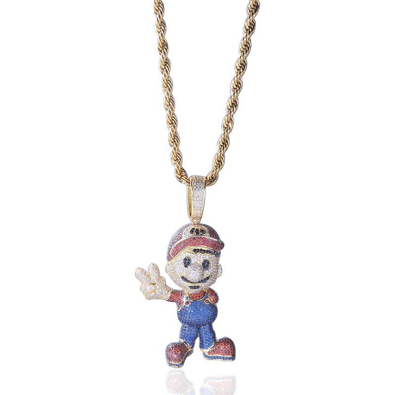 Hip Hop Mario Micro Pave CZ Pendants Necklaces Mens Women Rope Chain Cartoon Jewelry Dropshipping APK2285Hip Hop Mario Micro Pave CZ Pendants Necklaces Mens Women Rope Chain Cartoon Jewelry Dropshipping APK2285