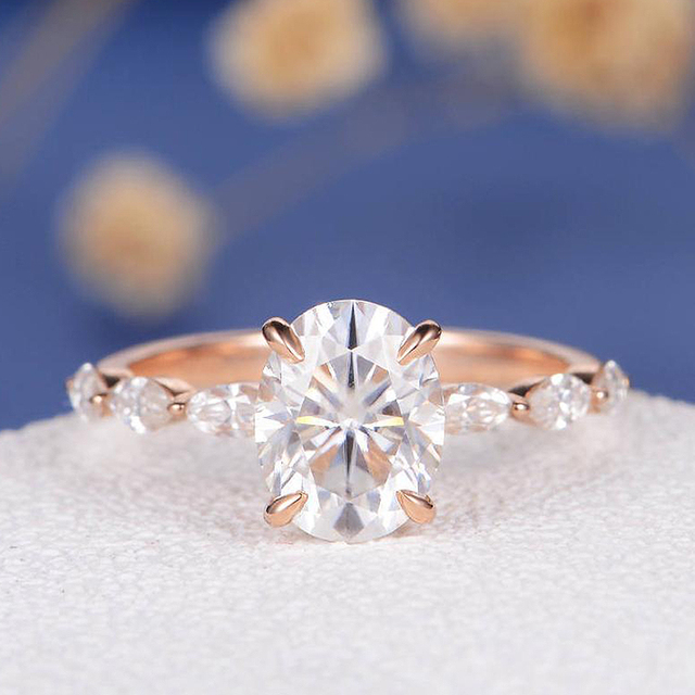 18K Rose Gold 1ct DF Color Engagement Ring Oval Cut Moissanite Marquise Eternity Band Wedding Bridal Ring For Women Ring