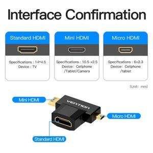 Image 2 - Vention mini hdmi/micro hdmi para hdmi adaptador conversor 2 em 1 3d 1080 p macho para fêmea para tv monitor projetor câmera