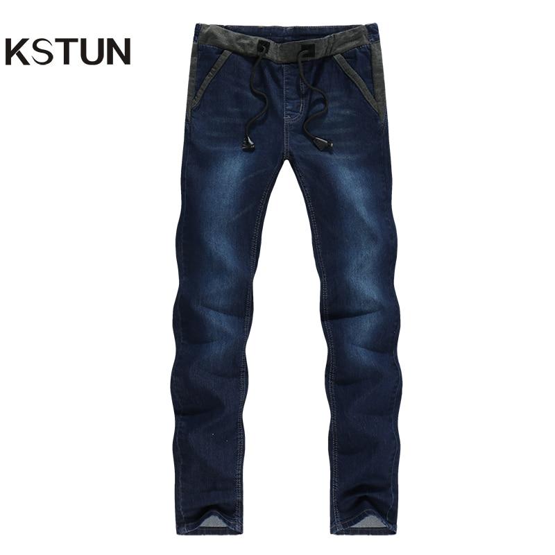 KSTUN Mens Jeans Korean Quality Brand Dark Blue Slim Leg Drawstring Casual Trousers Male Joggers Man Cowboys Pantalones Hombre