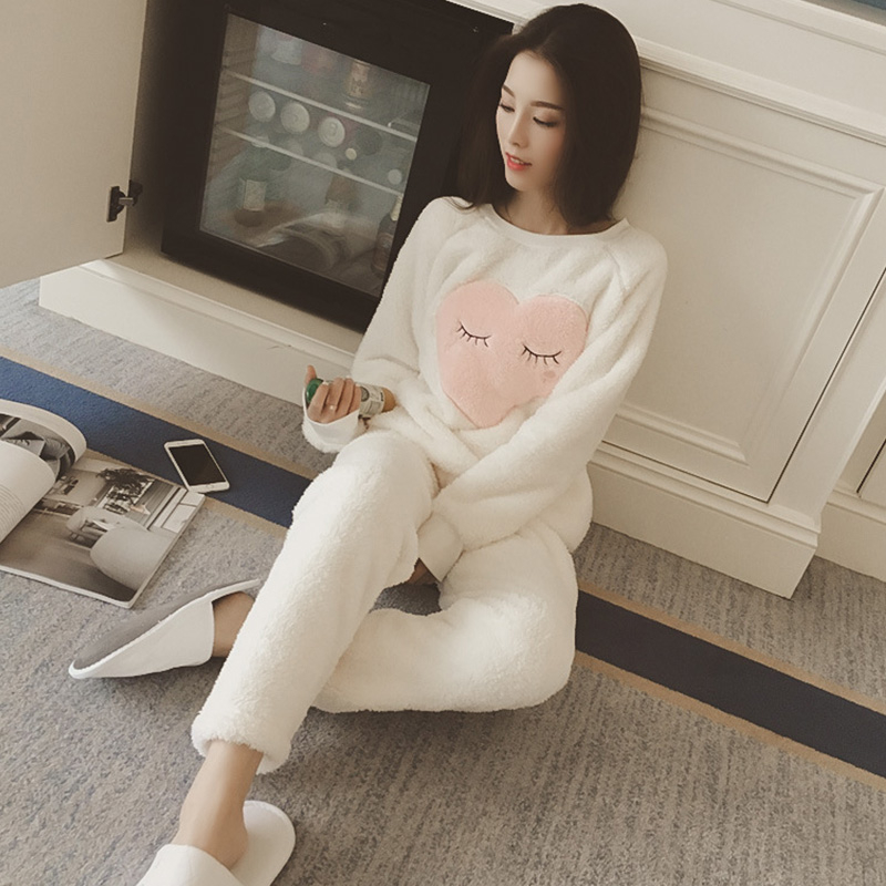 Coral Fleece Plush   Pajamas   For Women Thick Warm Winter Woman   Pajamas     Sets   Cute Cartoon Sweet Soft Home Clothes Female Sleepwear