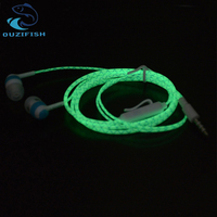 Original OUZIFISH Hot Glow In The Dark Earbus Cool Led Earphone Luminous Neon Headset With Microphone Night Lighting For iPhone