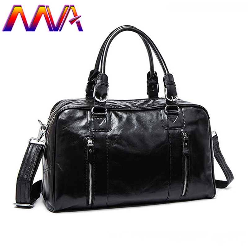 цена MVA Quality leather travel bag for fashion men luggage travelling bag women shoulder bag with genuine leather women travel bags