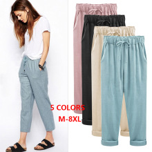 Plus Size M - 4XL 5XL 6XL 7XL 8XL Pants Drawstring Women Elastic High Waist Solid Casual Cotton Linen Ankle Length 68493