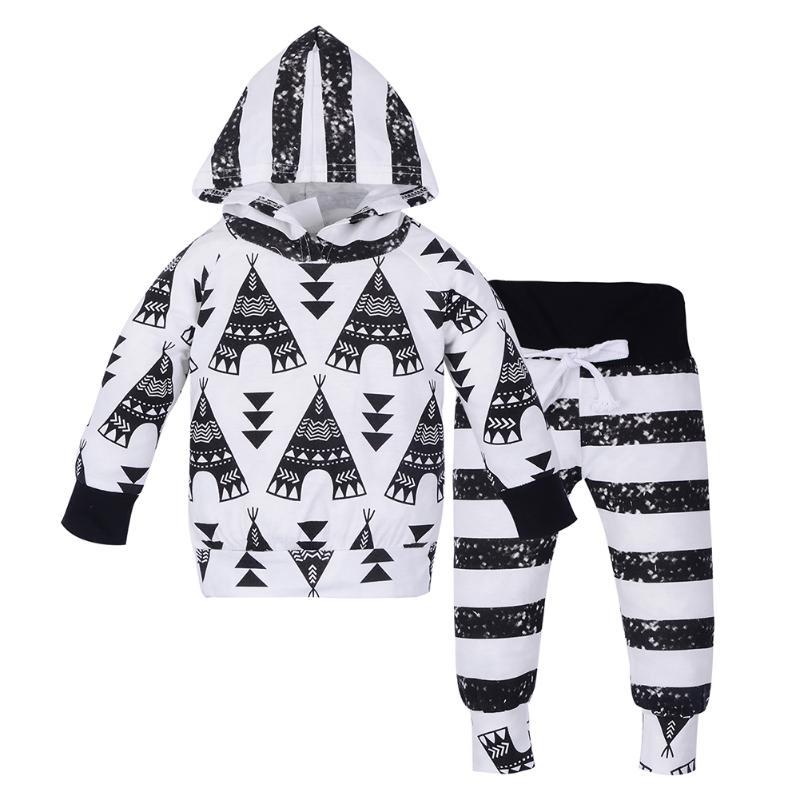2pcs/set Baby Boy Girl Clothes Set Fashion Geometric Printing Knitting Hooded Sweatshirt Tops+Pants Newborn Infant Outfits Set