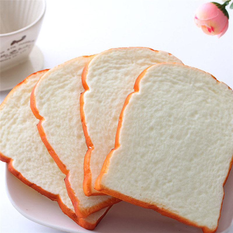 1PCS Jumbo Squishy Sliced Toast Toy Mobile Phone Strap Soft Bread Scented Fun Toys Gift Home Kitchen Decor for Chidren Kids