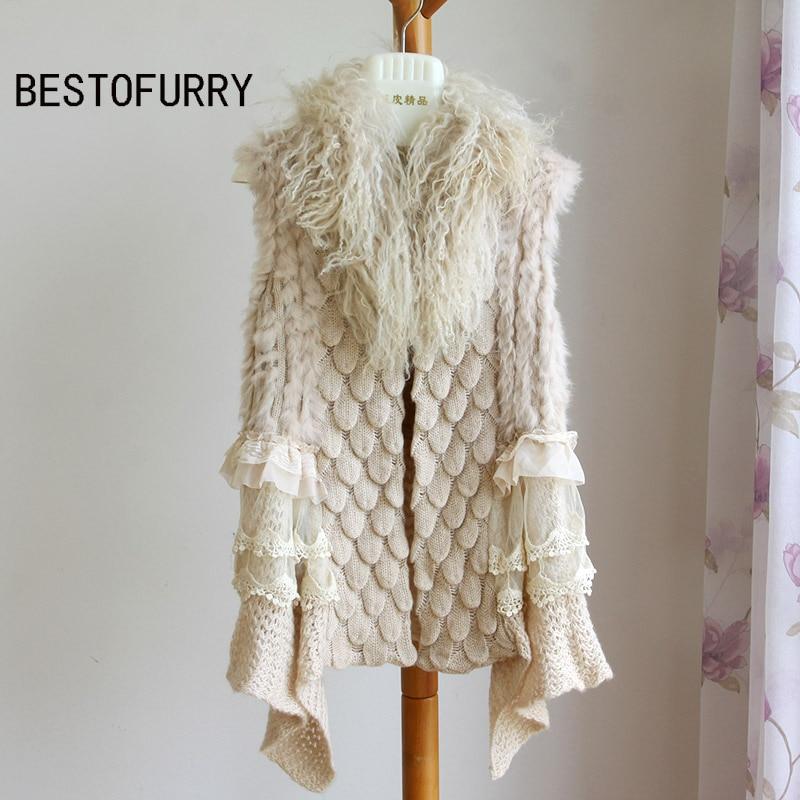 Winter Women Real Rabbit Fur Knitted Vest Gilet Mongolian Fur Collar Woman Fur Coat FRAV0003