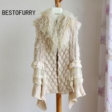 Winter Women Real Rabbit Fur Knitted Vest Gilet Mongolian