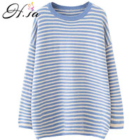 H.SA 2018 Winter New Oversize Striped Jumpers Long Sleeve Pull Sweaters Yellow Striped pull femme hiver Ladies Chic Streetwear