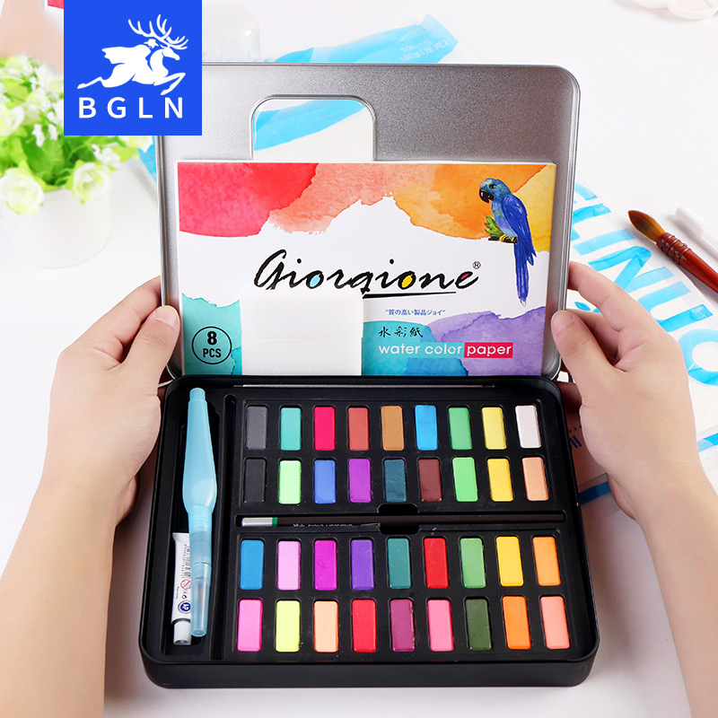 BGLN 36Colors Powder Solid Watercolor Paint Set Bright Color Portable Watercolor Pigment Powder Set For Kids Students Art Suppl ...