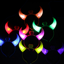 1PC  LED Flash Light Colorful Baby Hair Hoops Halloween Costumes Devil Horns Headwear Head Band Girls Baby Decoration Gifts