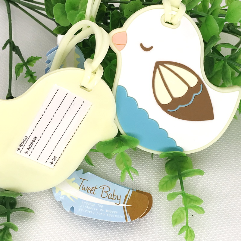 50pcs Lot FREE SHIPPING Baby Shower Favors Baby Bird Design Luggage Tag Rubber Babbage Tag