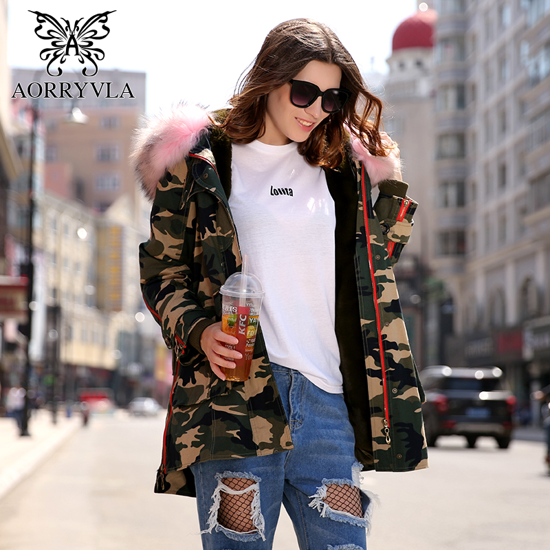 AORRYVLA 2018 Winter Jacket Women's Outwear   Parkas   Camouflage Natural Raccoon Fur Collar Thick Warm Ladies Luxury Winter Coat