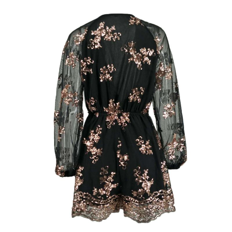 Womens Summer Bohemian Glitter Sequins Playsuit Sheer Long Sleeves Floral Applique Loose Overall Shorts Deep V Neck Ruched High in Rompers from Women 39 s Clothing