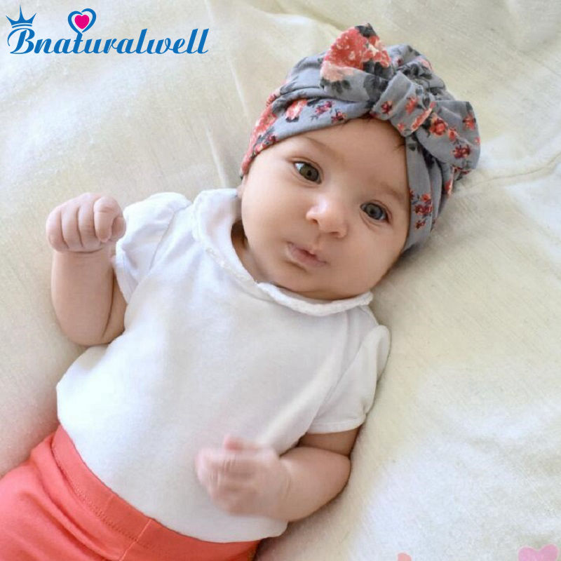 Bnaturalwell Baby Turban hat with bow Newborn Toddler cotton Infinity turban hat Infant Topknot beanie Cotton flower cap H131S women new elastic cap turban muslim ruffle cancer chemo hat beanie scarf turban head wrap cap ladies india take photo headscarf