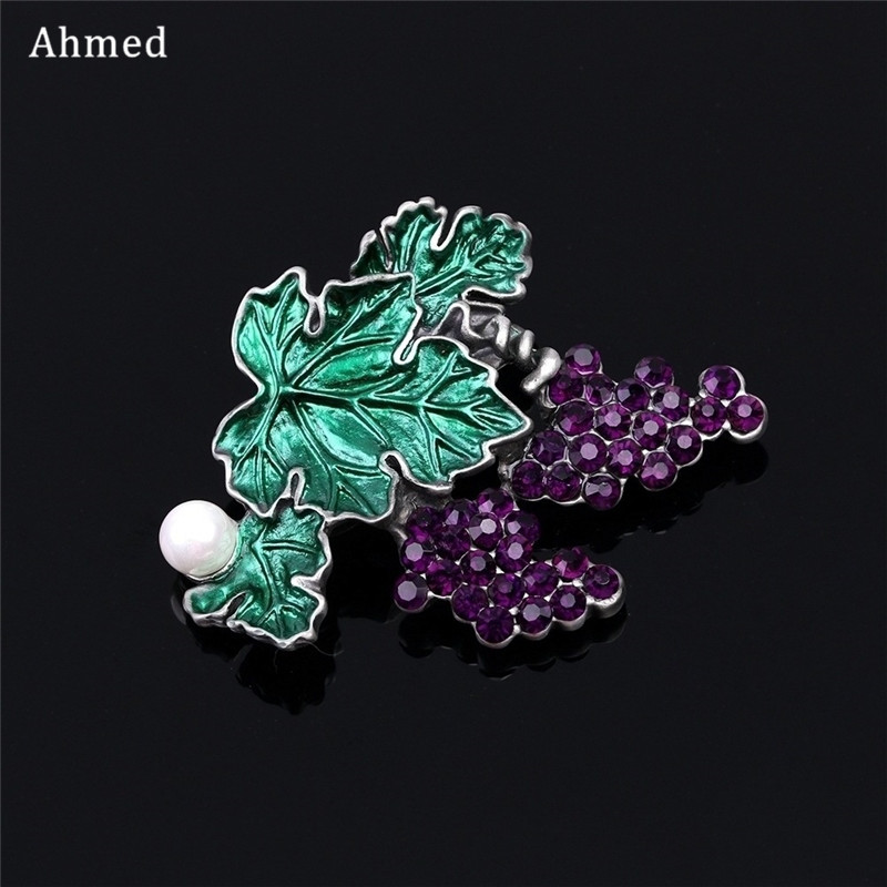 Ahmed Vintage Antique Rhinestone Pearl Grape Brooches Fashion Scarf Suit Cat Cilp Up New Design Retro Corsage For Women Jewelry