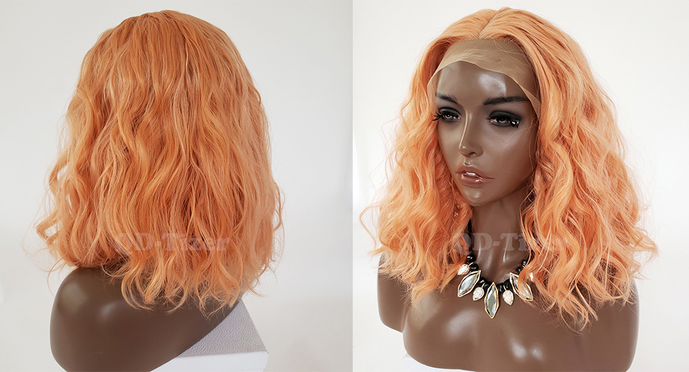 QD-TIZER Orange Color Loose Wave Synthetic Lace Front Wig Short Lob Hair Glueless with Baby Hair Lace Front Wigs for Women 3