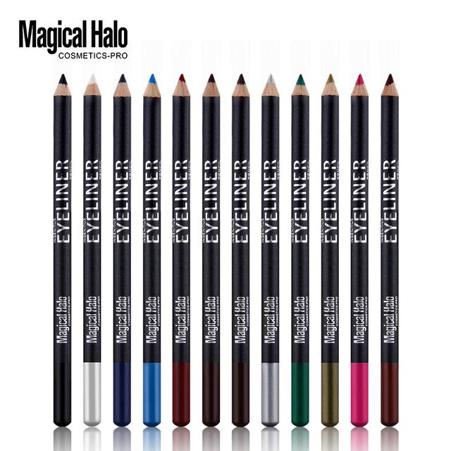 Magical halo 12 cores não-tonto delineador líquido preto eyeliner cosméticos maquiagem à prova d' água de longa duração lápis delineador set