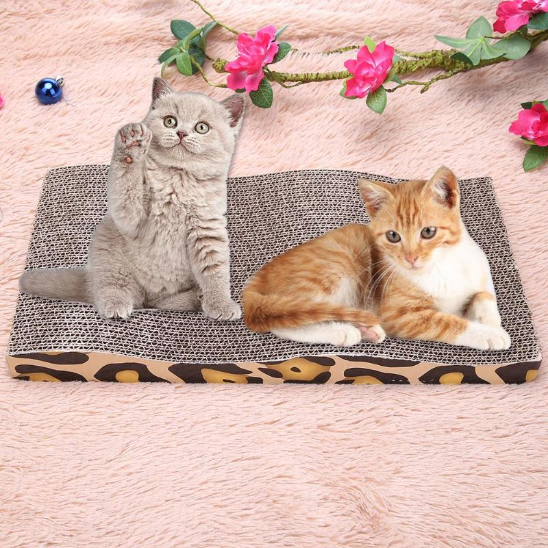 Leopard Print Corrugated Double-side Cat Scratch Board Pad Cushion Mat Interactive Play Toy with Catnip Cat Toys